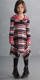 "Kate Mack ""Sassy Stripes"" Hanky Hem Hooded Dress"
