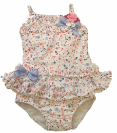 "Kate Mack ""Sunkissed Roses"" Blue Ditzy Print Two Piece Tankini<Br>Sizes 9M - 4T"