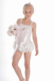 "Kate Mack ""Swan Lake"" Stunning Soft Pink Skirted Tank Swimsuit<Br>Sizes 4-6X"