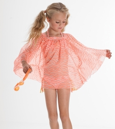 "Kate Mack ""Tahitian Sunset"" Coral Chiffon Coverup<Br>Sizes 4 -16"