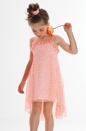 "Kate Mack ""Tahitian Sunset"" Super Sweet Coral Hi Low Dress<Br>Sizes 4 -16"