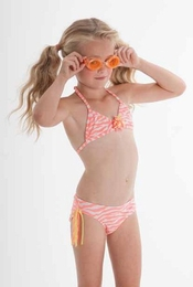 "Kate Mack Terrific ""Tahitian Sunset"" Coral Fringey Bikini<Br>Sizes 4 -16"