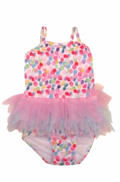"Kate Mack ""Up Up & Away"" Pretty Pink Dotted Baby Two Piece Swim Tank"