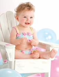 "Kate Mack ""Water Sprite"" Rosette Aqua Blue Skirted Bikini<Br>Sizes 9M - 4T"