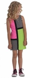 "Kate Mack ""What Is Hip"" Black Color Block Spring Dress<Br>Sizes 5-16"