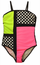 "Kate Mack ""What Is Hip"" Black Colorblock One Piece Swim Tank<Br>Sizes 7 -16"