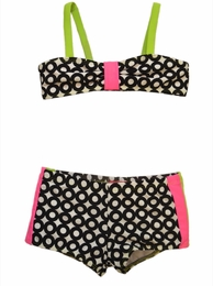 "Kate Mack ""What Is Hip"" Black Dotted Boy Short Bikini"
