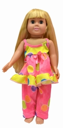 "Laura Dare ""Spring has Sprung"" Colorful Dotted Two Piece 18"" Doll Pj's"