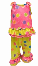 "Laura Dare ""Spring has Sprung"" Two Piece Bow Top Colorful Dot Pj's"