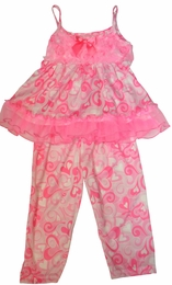 "Laura Dare ""Swirly Dreams"" Valentine Precious Capri Two Piece Pajamas"
