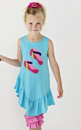 "Lemon Loves Lime Aqua Splash ""Flip Flops"" Dress<br>Sizes 4-10"