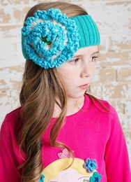 Lemon Loves Lime Blue Floral Knit Stretch Headband