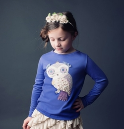 "Lemon Loves Lime Blue Iris ""Snowy Owl"" Applique Tee"