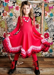 "Lemon Loves Lime Poinsettia Red ""Crayon Power"" Two Piece Dress Set"