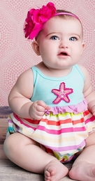 "Lemon Loves Lime Blue Tint ""Conga Starfish"" Baby Romper"