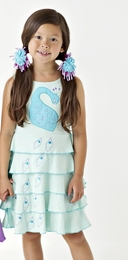 "Lemon Loves Lime Fair Aqua ""Pretty Peacock"" Dress<br>Sizes 3-8"