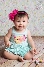 "Lemon Loves Lime Fair Aqua ""Puffer Magic"" Romper<br>Sizes 3/6M-18/24M"