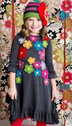 "Lemon Loves Lime Grey ""Floral Harvest"" A Line Dress"