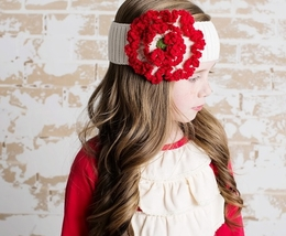 "Lemon Loves Lime HOLIDAY Winter White & True Red ""Floral"" Headband<br>Sizes 3 - 10"