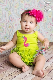 "Lemon Loves Lime Lime Punch ""Party Flamingo"" Romper<br>Sizes 3/6M-18/24M"