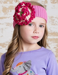 Lemon Loves Lime Pink Floral Knit Headband