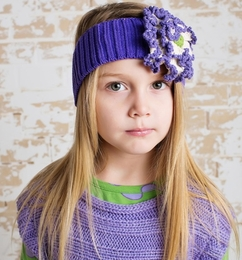 Lemon Loves Lime Purple Floral Knit Stretch Headband