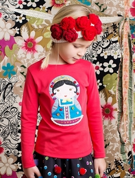 "Lemon Loves Lime Red ""Russian Doll"" Applique Tee"