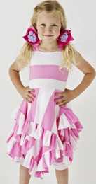 "Lemon Loves Lime Sachet Pink and White Striped ""Sailing"" Dress<br>Sizes 4, 5 & 6"