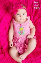 "Lemon Loves Lime Sachet Pink ""Happy Birthday Frog"" Romper<br>Sizes 3/6M-18/24M"