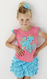 "Lemon Loves Lime Salmon Rose ""Swirly Octopus"" Top<br>Sizes 3-7"