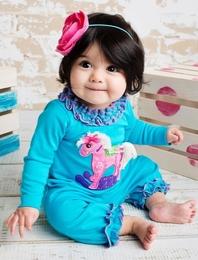 "Lemon Loves Lime Scuba Blue ""Rock A Bye Horsey"" Romper"