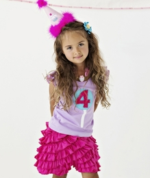 "Lemon Loves Lime Sheer Lilac ""4th Birthday"" Tank Top<br>Sizes 4-5"