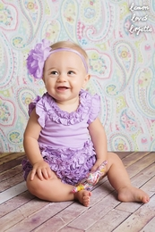 "Lemon Loves Lime Sheer Lilac ""Rula"" Romper<br>Sizes 3/6M-18/24M"