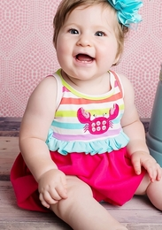 "Lemon Loves Lime Sheer Raspberry ""Sidewalk Dance"" Baby Romper"