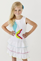 "Lemon Loves Lime White ""Mermaid Tail"" Drop Waist Knit Dress<br>Sizes 3-8"
