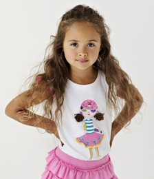 "Lemon Loves Lime White ""Pirate Girl"" Tank Top<br>Sizes 4-10"