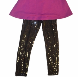 Lipstik Girls Beautiful Black Sequin Leggings<br>*PREORDER*