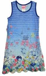 Lipstik Girls Blue Dress with Mesh Overlay