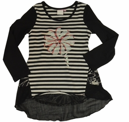 Lipstik Girls Hi-Low Hem Striped Knit Tunic Top<br>*PREORDER*