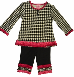 Lipstik Girls Houndstooth Printed Knit Two Piece Pant Set