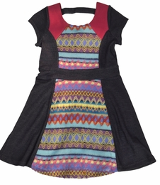 Lipstik Girls Dark Denim & Colorful Knit Dress *FINAL SALE* SOLD OUT!