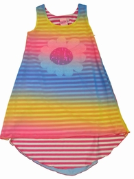 Lipstik Girls Rainbow Colored Tank Chiffon Dress