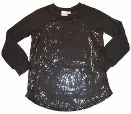 Lipstik Girls Trendy Black Sequin Knit Tunic Top<br>*PREORDER*