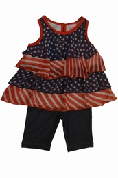Lipstik Twinkle Little Star Ruffle Top with Denim Leggings 2 piece set<br> Sizes 2T-4T