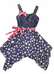 "Little Mass ""American Royalty"" Soft Knit Star Printed HOLIDAY Dress<br>Sizes 4 - 14"