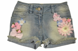 Little Mass Aqua Denim Fleur Shorts<br>Sizes 2T - 14