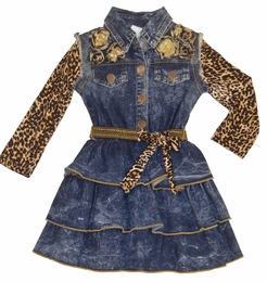 "Little Mass Denim ""Leopard Love"" Sassy Dress *PREORDER*"