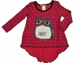 Little Mass Fabulous Fall Fuscia Owl Hi-Lo Tee
