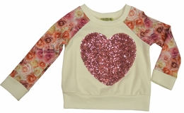 "Little Mass Ivory ""Puppy Love"" Sequin Heart Sweatshirt"