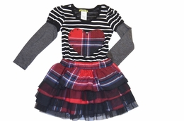 "Little Mass Must Have Black & White ""Rockin' Plaid"" Dress"